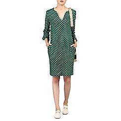 Jolie Moi - Green print ruffle sleeve tunic dress