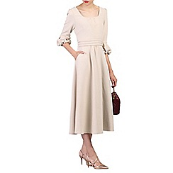 Jolie Moi - Beige bell sleeve flare midi dress