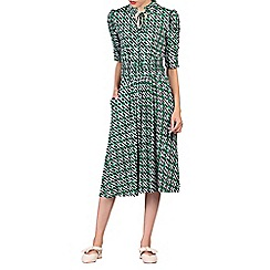 Jolie Moi - Green print tie collar midi dress