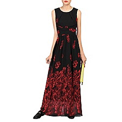 Jolie Moi - Black printed cross belt maxi dress