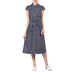 Jolie Moi - Navy retro print 1940s shirt dress