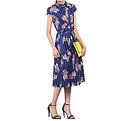 Jolie Moi - Multicoloured retro print 1940s shirt dress