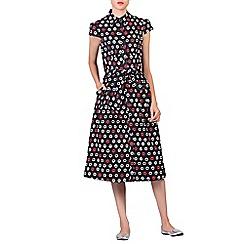 Jolie Moi - Black retro print 1940s shirt dress