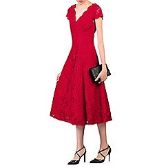 Jolie Moi - Red cap sleeve lace midi dress