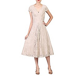 Jolie Moi - Beige cap sleeve lace midi dress