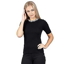 Izabel London - Black embelished neck knit top