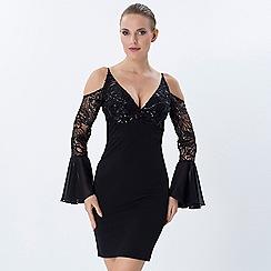 Explosion London - Black open shoulder lace detailed bodycon dress