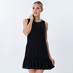 Explosion London - Black embellished neck detailed shift dress