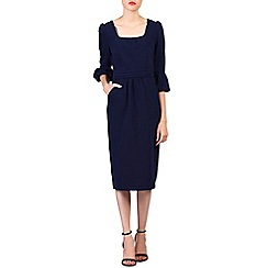 Jolie Moi - Navy bell sleeve midi pencil dress