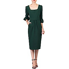 Jolie Moi - Dark green bell sleeve midi pencil dress
