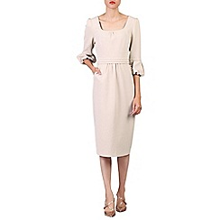 Jolie Moi - Beige bell sleeve midi pencil dress