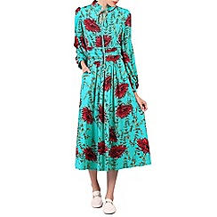 Jolie Moi - Turquoise print long sleeve midi dress