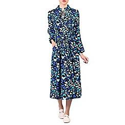 Jolie Moi - Navy print long sleeve midi dress