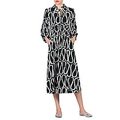 Jolie Moi - Black patent print long sleeve midi dress