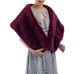 Jolie Moi - Plum faux fur wrap cover up