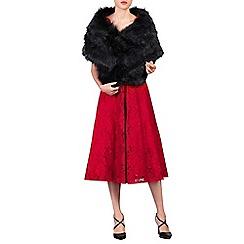 Jolie Moi - Black faux fur wrap cover up