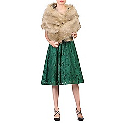Jolie Moi - Camel faux fur wrap cover up