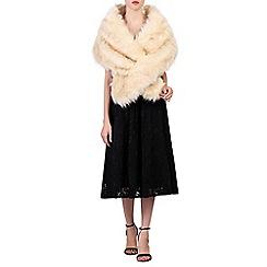 Jolie Moi - Cream faux fur wrap cover up