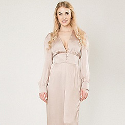 Amalie & Amber - Taupe satin plunge front jumpsuit