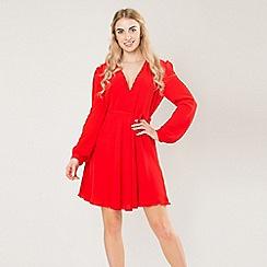 Amalie & Amber - Red wrap front skater dress