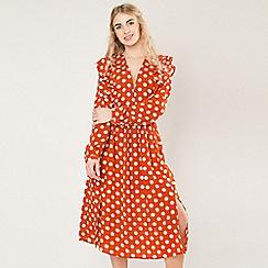 Amalie & Amber - Orange polkd dot midi dress