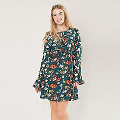 Amalie & Amber - Multicoloured wrap front skater dress