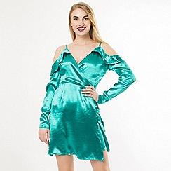 Amalie & Amber - Turquoise Satin Cold Shoulder Dress