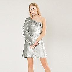 Amalie & Amber - Silver wrap front skater dress