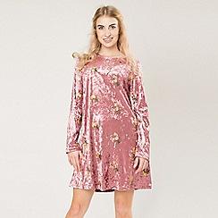 Amalie & Amber - Plum long sleeved printed dress