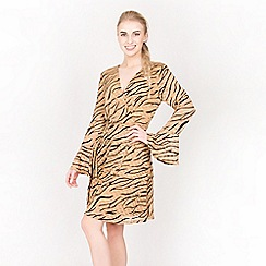 Tenki - Brown full sleeve zebra lace dress