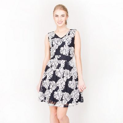 3af6b11c7309 Tenki Blue v-neck leaf print skater dress | Debenhams