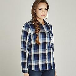 Apricot - Blue check print woven shirt
