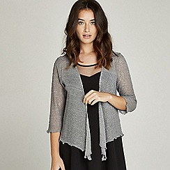 Apricot - Grey lurex popcorn knit party shrug