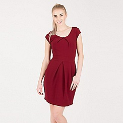 Tenki - Maroon plain tulip tie back dress