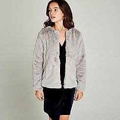 Apricot - Light grey faux fur cropped jacket