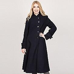Jolie Moi - Navy asymmetric buttoned fit & flare coat