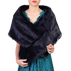 Jolie Moi - Navy faux fur wrap cover up
