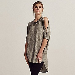 Apricot - Grey metallic zip shoulder tunic top