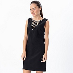 Explosion London - Black embellished detailed neck classic dress
