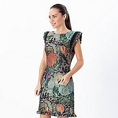 Explosion London - Multicoloured flowery short sleeves straight dress