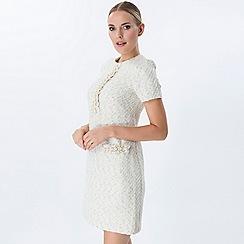 Explosion London - White pearls detailed tweed dress