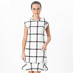 Explosion London - White ruffled hem checkered sleeveless dress