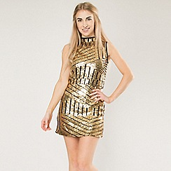 Blue Vanilla - Gold gold high neck sequin mini dress