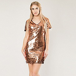 Blue Vanilla - Bronze sequin dress