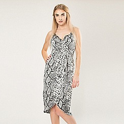 Blue Vanilla - Black snake print wrap front slip dress