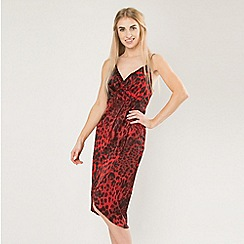Blue Vanilla - Red leopard wrap front slip dress