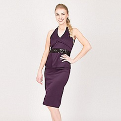 Feverfish - Purple halterneck sequin dress