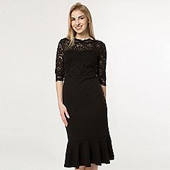 Feverfish - Black lace fishtail hem midi dress