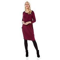 Roman Originals - Wine three quarter sleeve slouch dress