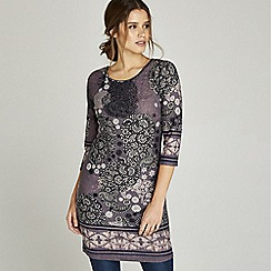 Apricot - Purple floral leaf paisley border tunic dress